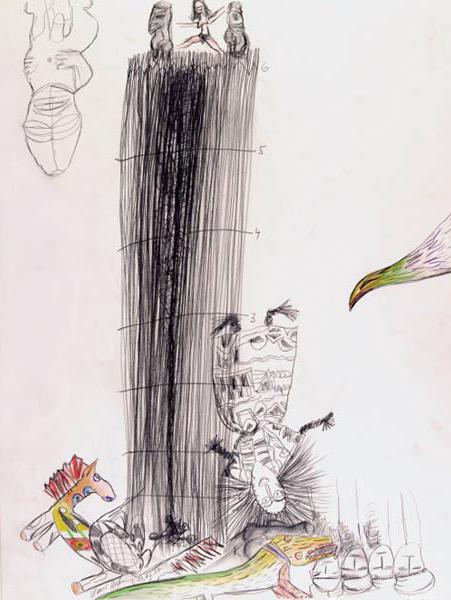 Hansi Hubner Frau mit Mann 65X50 cm Bleistift und Farbstift auf Karton